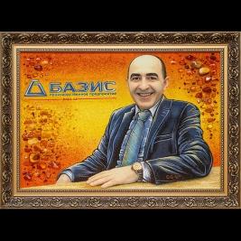 Новый портрет руководителя из янтаря по фотографии. Размеры портрета 40 х 60 см. Доступная цена портрета 4,5 тыс. грн.