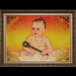 Детский портрет из янтаря. Размер янтарного портрета - 60 х 80 см. Цена портрета из янтаря - 15 тыс. грн.